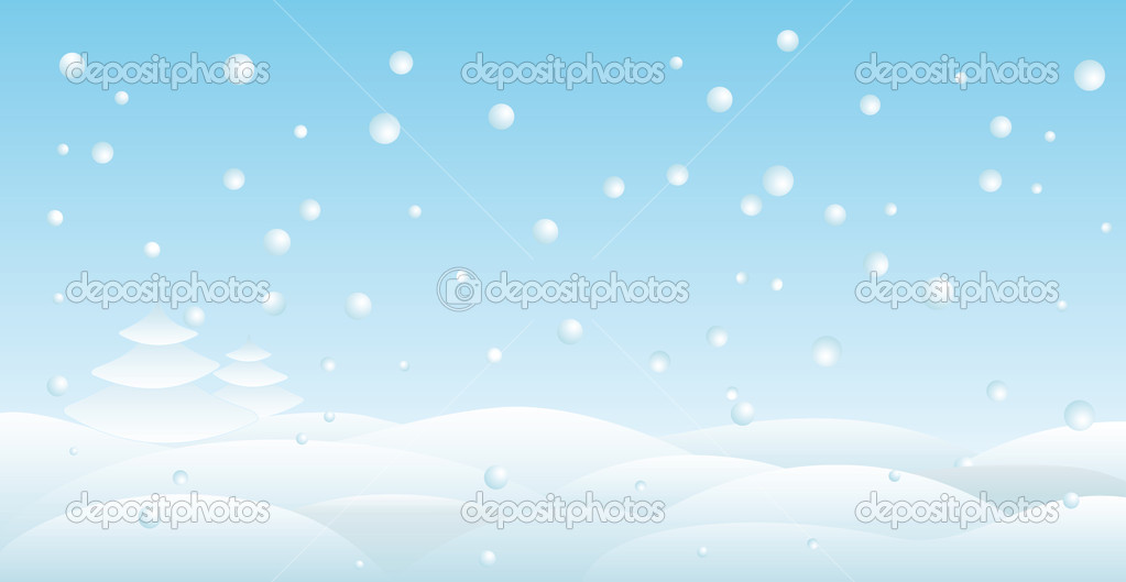 Snow-covered field with fir trees and falling snow — Imagen vectorial #2194325
