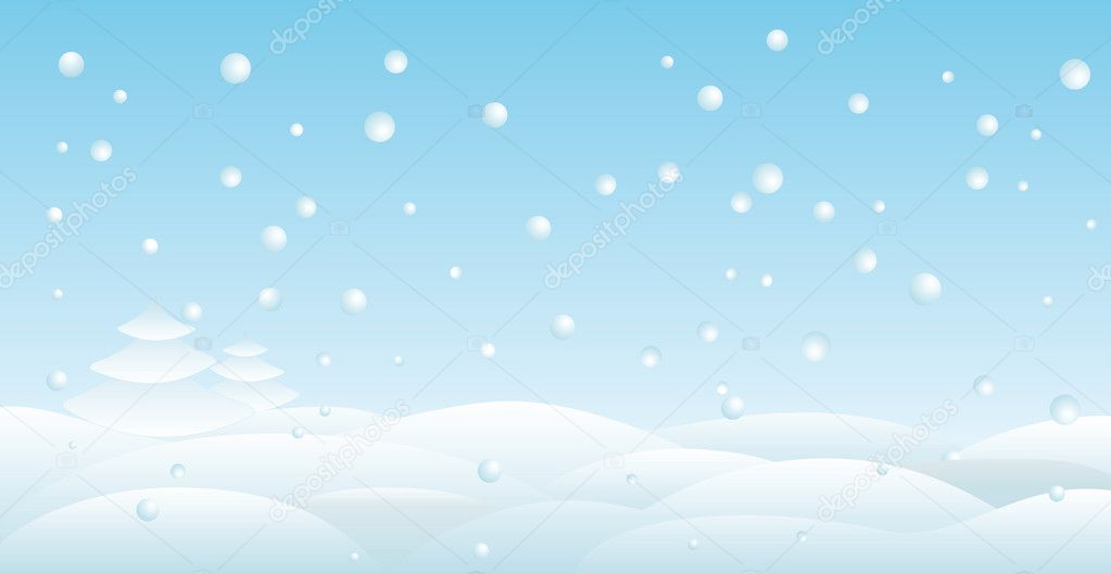 Snow-covered field with fir trees and falling snow   #2194325