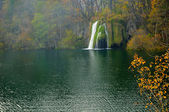 Pond and waterfalls in Plitvice — Stock Photo