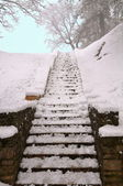 Snow covered staircase — Stock Photo