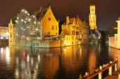 Night view of Brugge, Belgium — Stock Photo