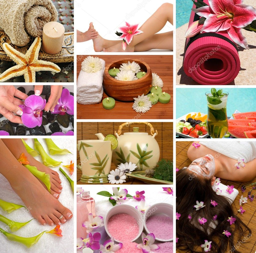 Spa treatment with aromatherapy, pedicure, manicure, massage, herbal tea, healthy fruit, meditation, and skincare — Stock Photo #2158932