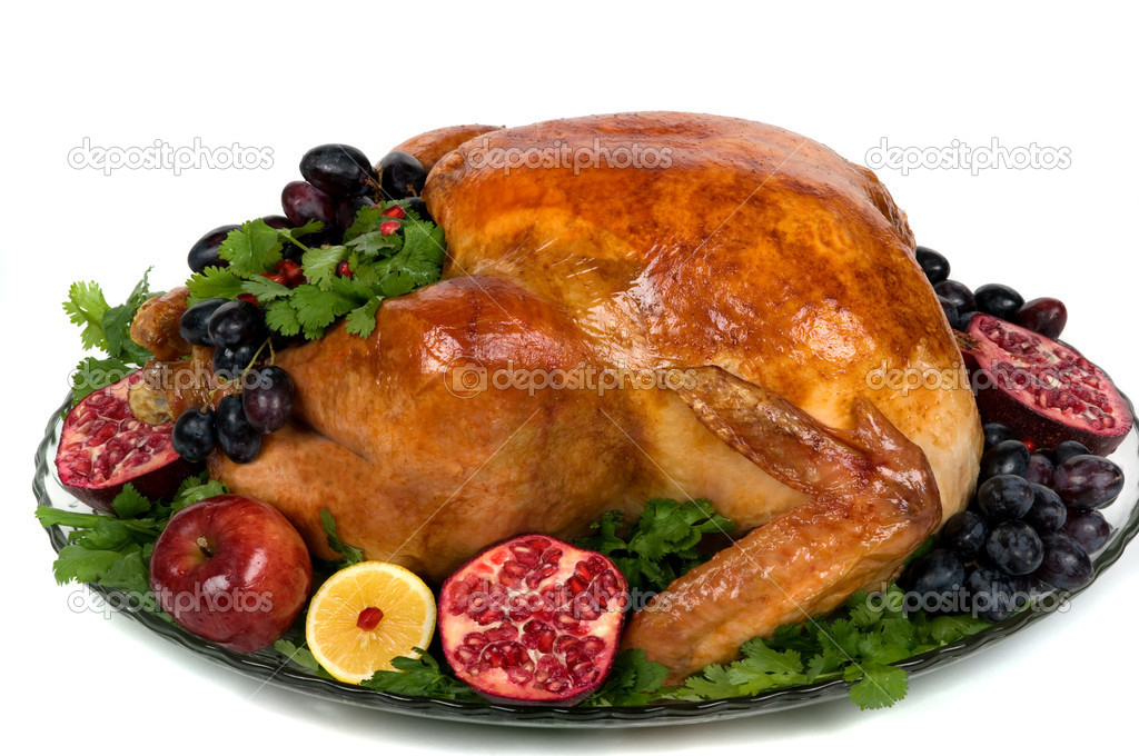 Beautifully decorated golden roasted turkey. — Zdjęcie stockowe #2215986
