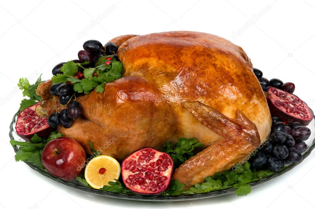 Beautifully decorated golden roasted turkey. — Stock fotografie #2215986