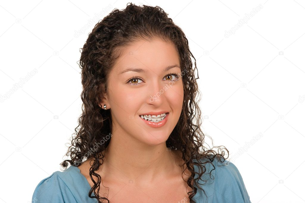 Teen girl with braces (retainer) — Stock Photo #2216047