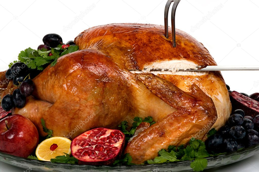 Beautifully decorated golden roasted turkey  — Stock Photo #2216655