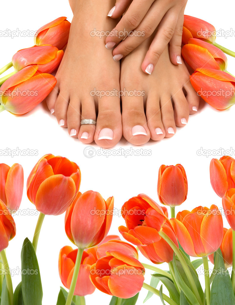 Pampered feet and hands with beautiful tulips — Stok fotoğraf #2218648