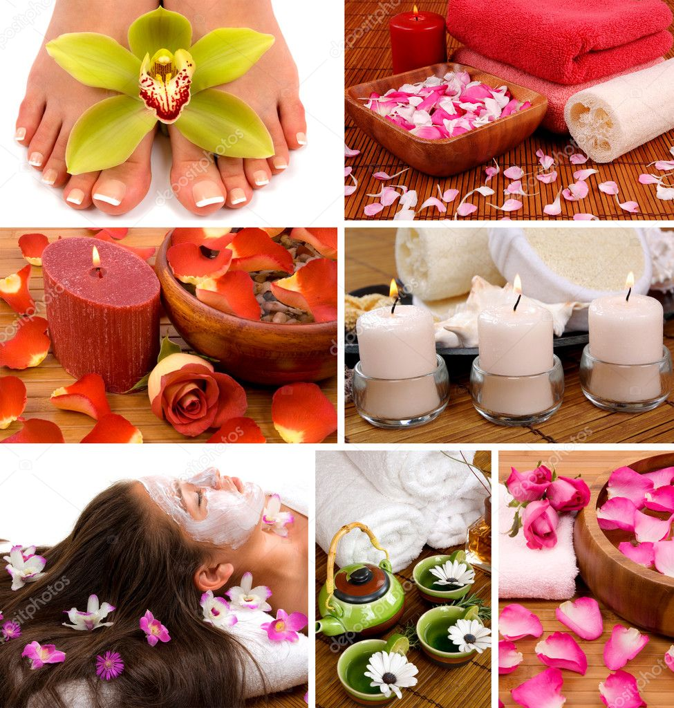 Spa collage with aromatherapy, skincare, pedicure, and herbal  relaxing tea — Stock Photo #2219360