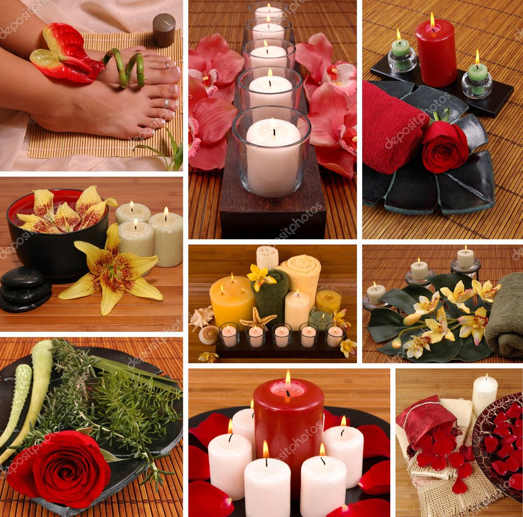 Aromatherapy, spa, pedicure collage — Foto Stock #2219641