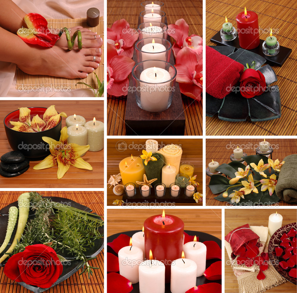 Aromatherapy, spa, pedicure collage — Stok fotoğraf #2219641
