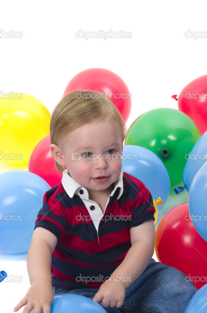 Very cute baby boy celebrating his birthday   Stock Photo #2221508