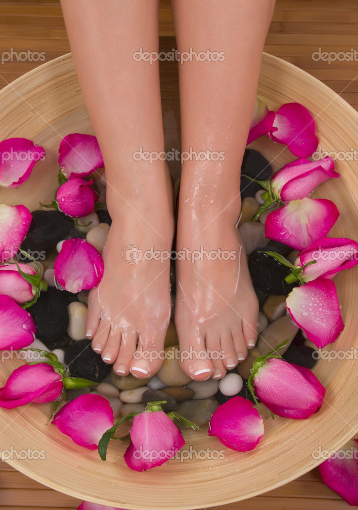 Being pampered by beautiful aromatic pink roses and therapeutic herbal water bath(Valentine Spa)  Stock Photo #2224396