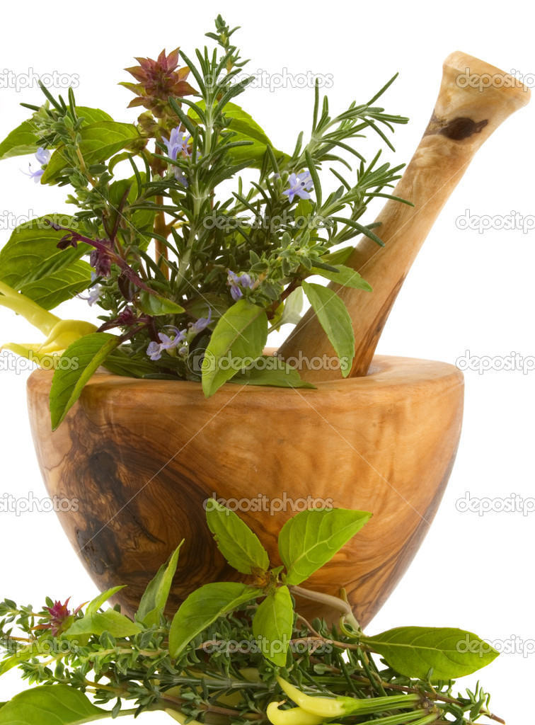 Healing herbs and edible flowers (hand carved olive tree mortar and pestle) — Foto Stock #2225284