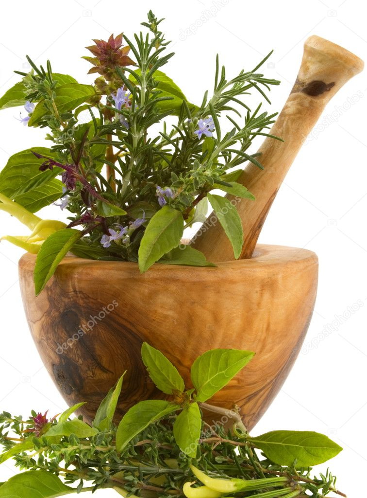 Healing herbs and edible flowers (hand carved olive tree mortar and pestle) — Stock fotografie #2225284