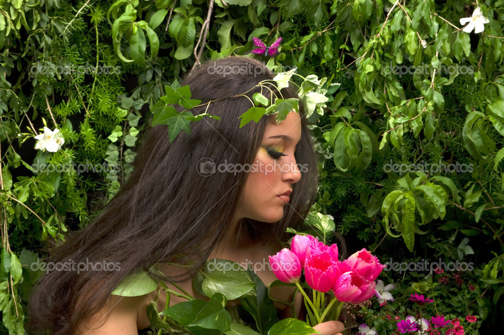 Fairy in her enchanted garden — Stock Photo #2300106
