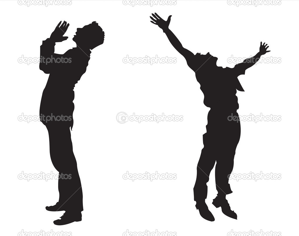 A man praying and giving praise  Stock Vector #2222322