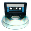 Tape cassette and digital compact disc — Stock Photo