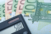 Calculator and Euro Bank Notes — Stock Photo