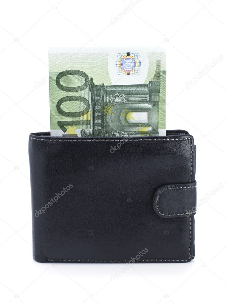 Purse and euro on a white background — Stock Photo #2212781