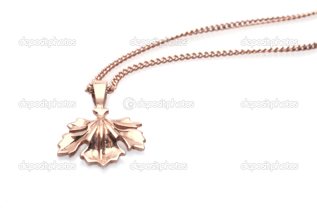 Golden necklace isolated on the white background  Stock Photo #2613218