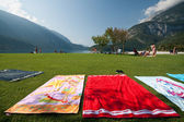 The beach on Lake Molveno — Stock Photo