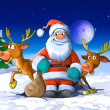 Santa Claus surrounded by his deers — Stock Photo