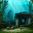 Underwater ancient town — Stock Photo