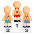 Are standing on olympic podium - Stock Vector