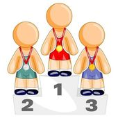 Are standing on olympic podium — Stock Vector
