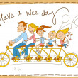 Happy family riding a tandem bicycle — Stock Vector