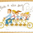 Stock Vector: Happy family riding tandem bicycle
