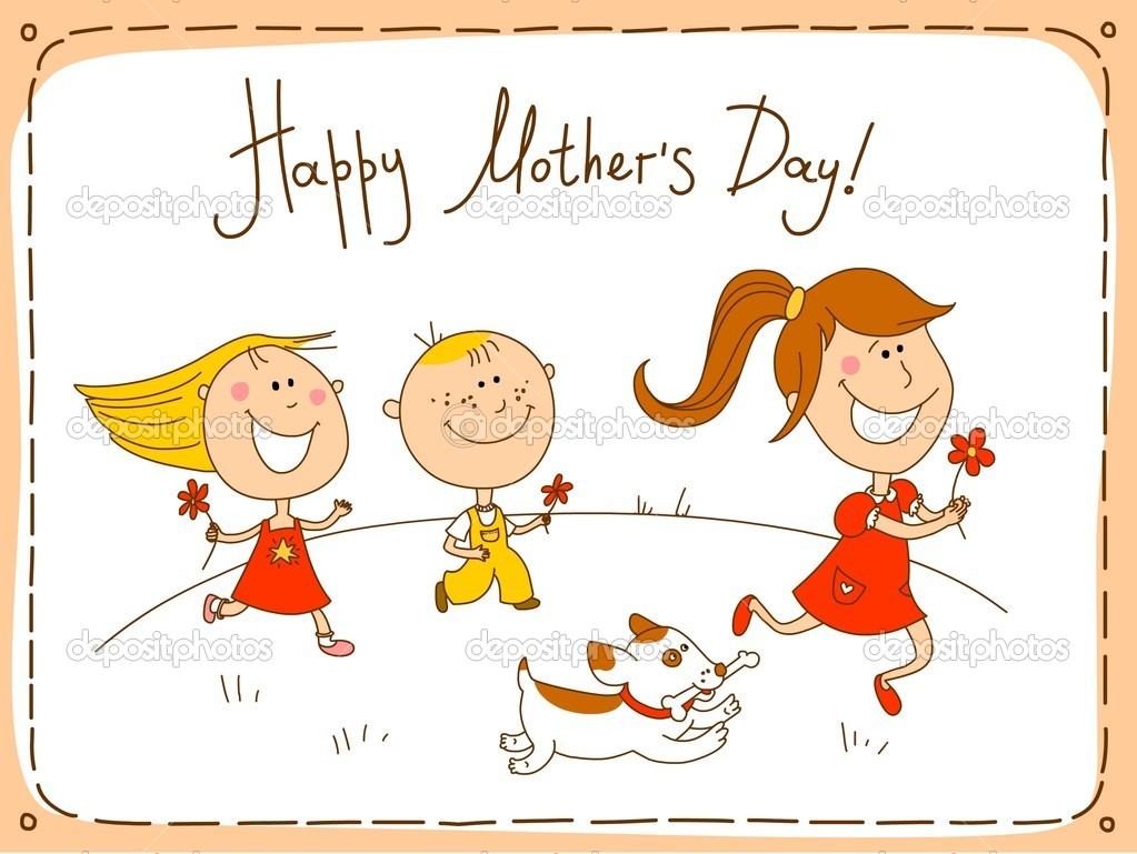 Three children with flowers running to congratulate their mum. The pet running with a bone in a teeth. — Stock Vector #2396826