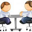 Stock Vector: Business partners sitting at table