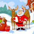 Santa Claus with deers reads a letter - Stock Vector