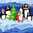 Santa with penguins — Stock Photo