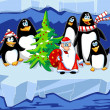 Stock Photo: Santa with penguins