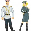 Man and woman in military uniform — Stock Photo