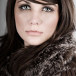 Beautiful Brunette Teen in Winter Coat - Stock Photo