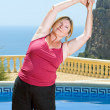 Senior Lady Doing Yoga — Stock Photo