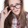 Attractive Brunette Geek — Foto Stock