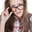 Attractive Brunette Geek — Stock Photo