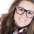 Pretty Brunette Geek — Stock Photo