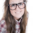 Cute Brunette Teenage Geek — Foto Stock