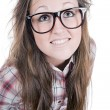 Cute Brunette Teenage Geek — Stockfoto