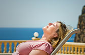 Senior Lady Sunbathing — Stock Photo