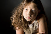 Scared and Filthy Brown Haired Child — Stock Photo