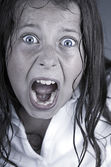 Close Up Shot of a Child Screaming — Stock Photo