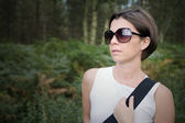 Brunette Lady Out for a Walk — Stock Photo