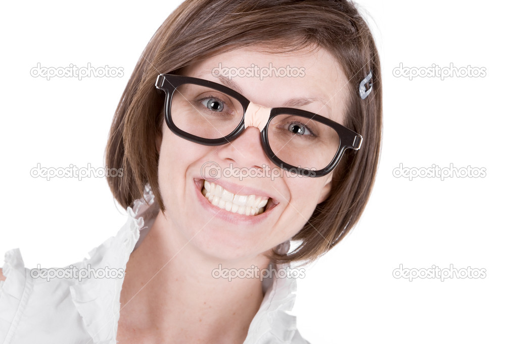 Shot of a Cute Geeky Female with a Big Cheesy Grin — Stock Photo #2363637
