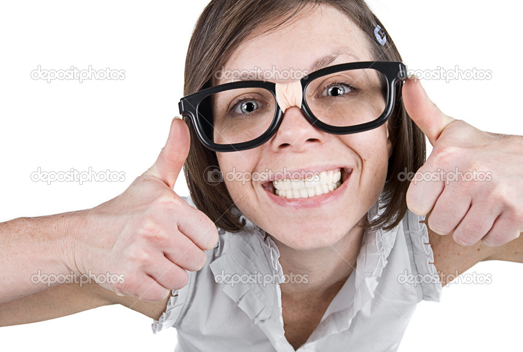 Shot of a Geeky Female with Double Thumbs Up — Foto Stock #2363677